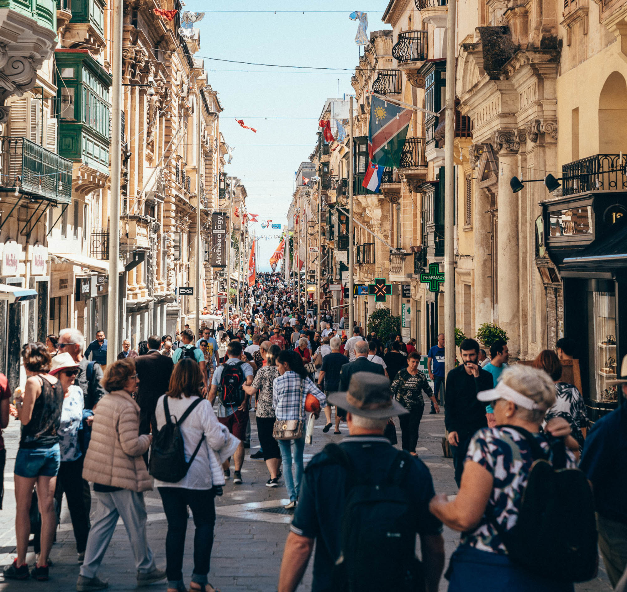 The Central street city of Valletta, the capital of Republic of Malta