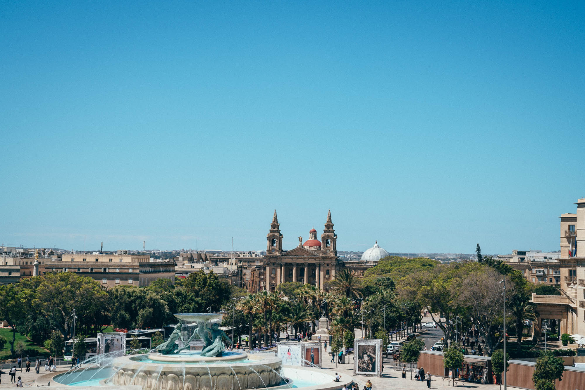 The Tritons Fountain is a fountain located on the periphery of the City Gate of Valletta, Republic of Malta, Europe